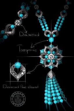 Uno dei bozzetti preparatori per la collana in diamanti e turchesi