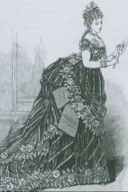 Haute couture. Un modello di Worth, Harper\'s Bazaar 1873