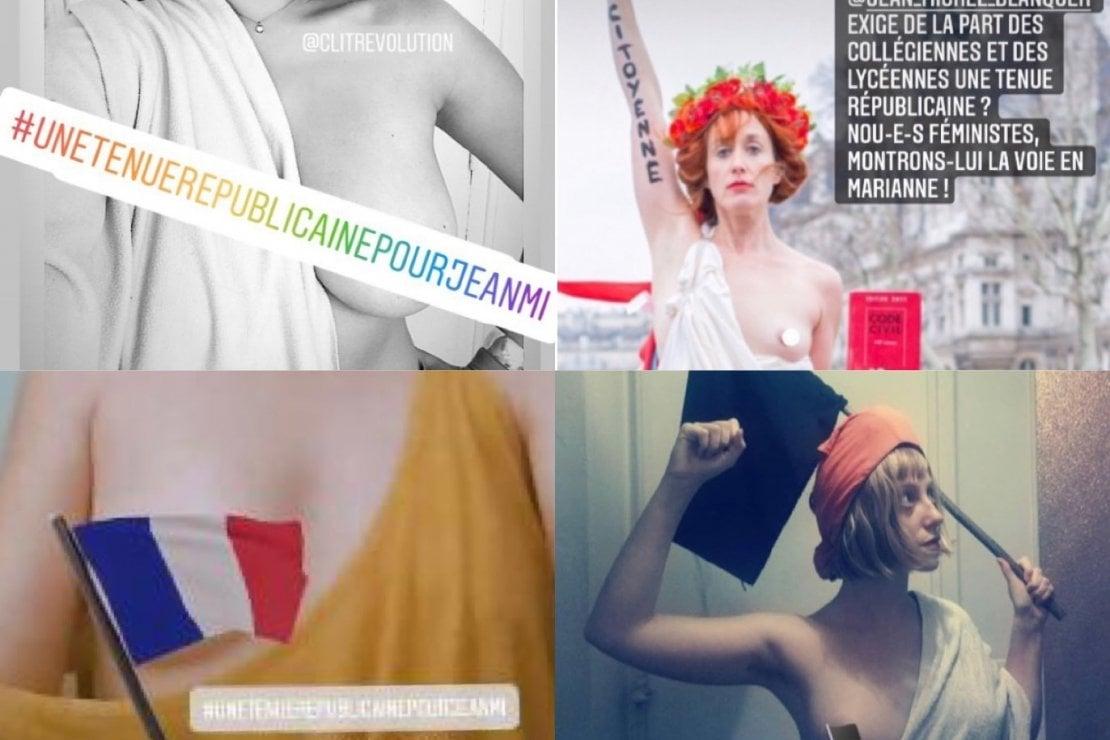 Francia, la protesta a seno nudo delle Marianne contro il dress code sessista