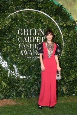 Chen Ran in Upcycled by Miu Miu in occasione dei Green Carpet Fashion Awards 2020