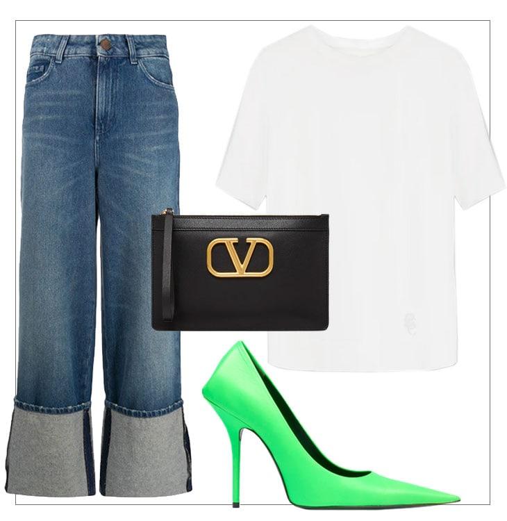 Da sinistra. Jeans, Zara. T shirt, Chloe. Pochette, Valentino. Pump, Balenciaga
