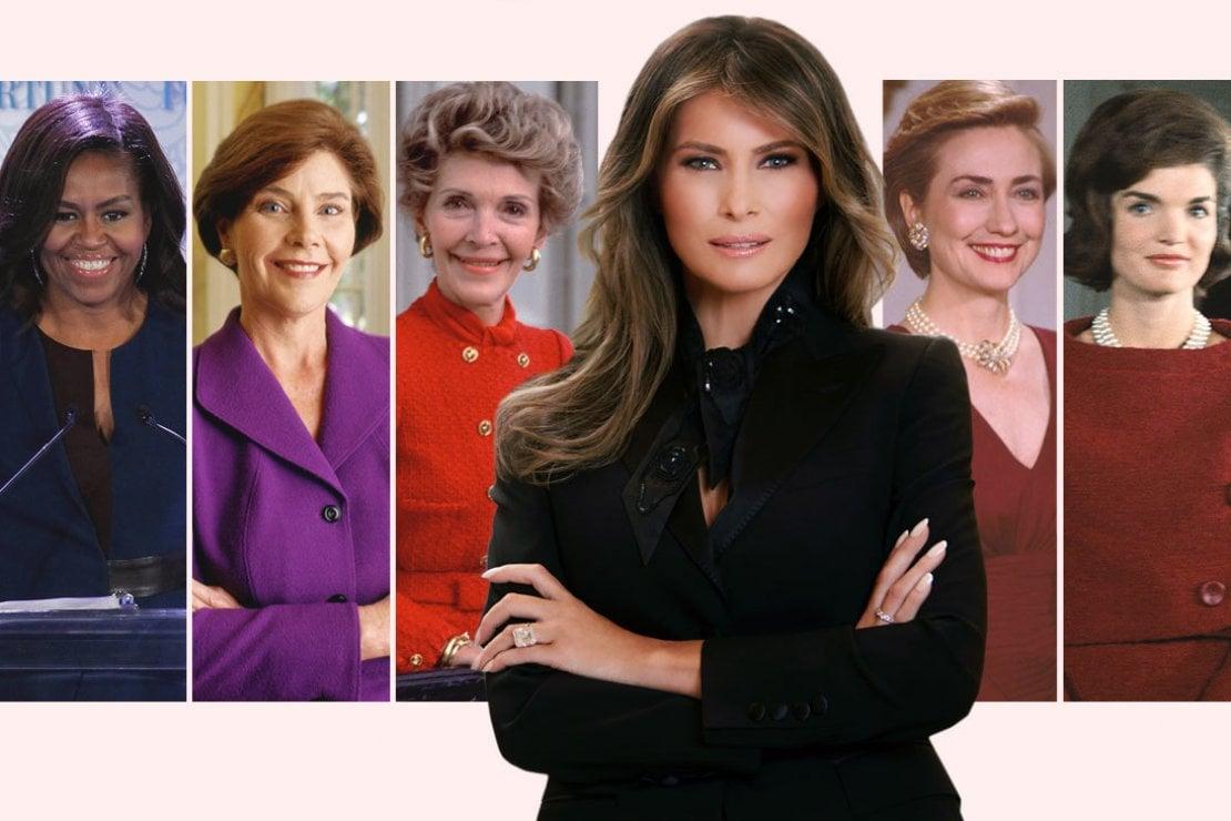 Da sinistra: Michelle Obama, Laura Bush, Nancy Reagan, Melania Trump, Hillary Clinton e Jacqueline Kennedy