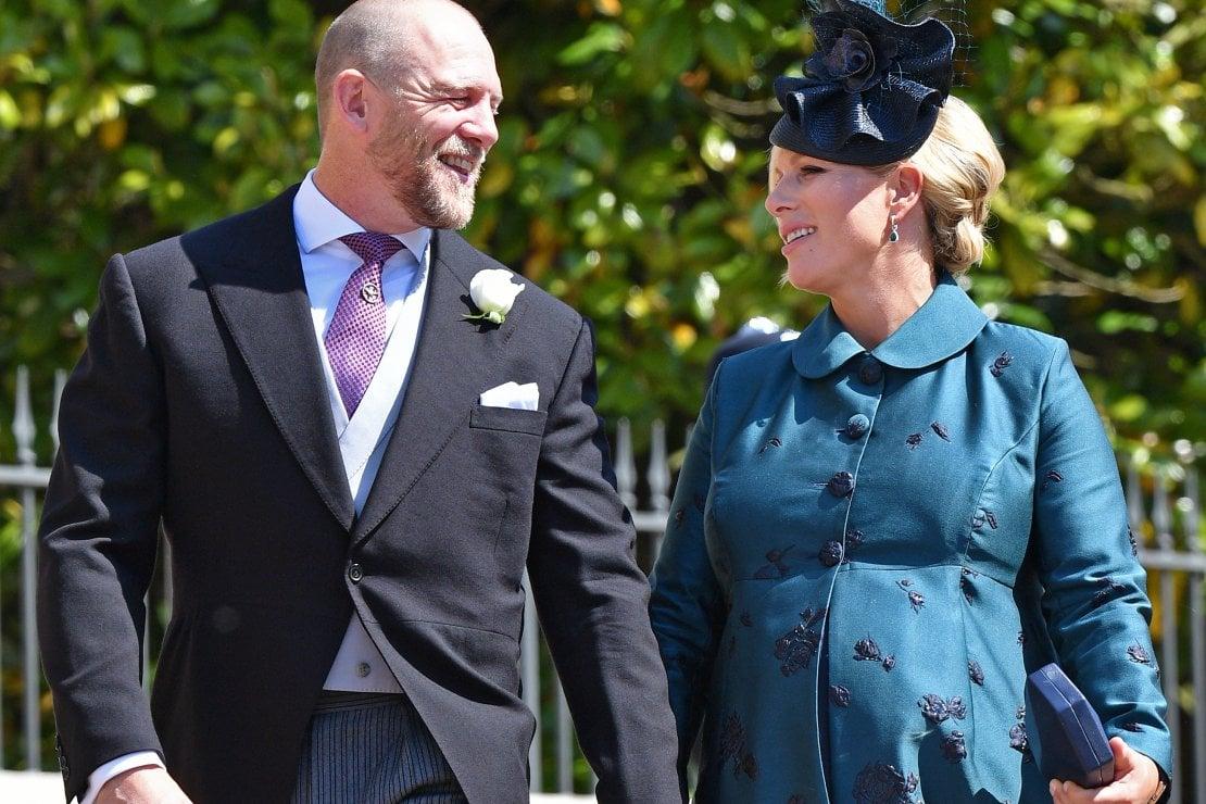 Mike e Zara Tindall nel 2018, al matrimonio del principe Harry con Meghan Markle. Allora Zara era incinta di Lena