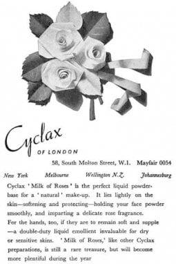 1946, una presentazione della crema Milk Roses