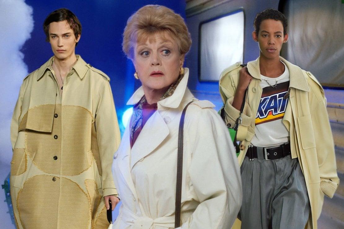 Da sinistra: la sfilata di Valentino pe2021, la signora Fletcher interpretata da Angela Lansbury e la sfilata Louis Vuitton pe2021