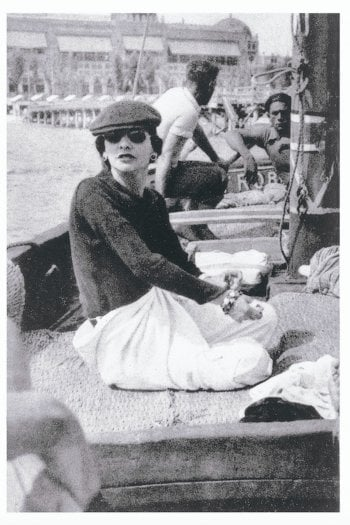 1936 - Gabrielle Chanel on Roussy Sert's yatch in front of the Lido of Venice Photo V.H. Grandpierre © All Rights Reserved / Courtesy of Vogue Paris