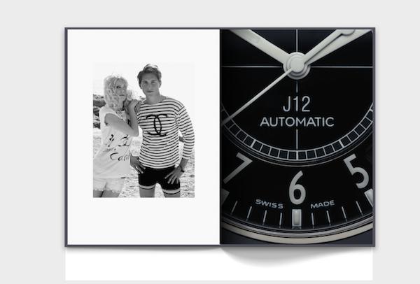 A sinistra: Jake Davies indossa l'orologio cronografo J12 in acciaio e ceramica nera ad alta resistenza. Claudia Schiffer e Jake Davies per la campagna pubblicitaria della collezione prêt-à-porter Primavera-Estate 2008. © CHANEL / Fotografia Karl Lagerfeld / 2008. A destra: Orologio J12 Calibro 12.1 in ceramica nera ad alta resistenza e acciaio. © CHANEL / Fotografia Guido Mocafico / 2019.Courtesy CHANEL WATCHES