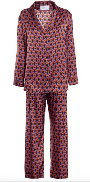 Completo pigiama di seta con motivi grafici, Sleep no More