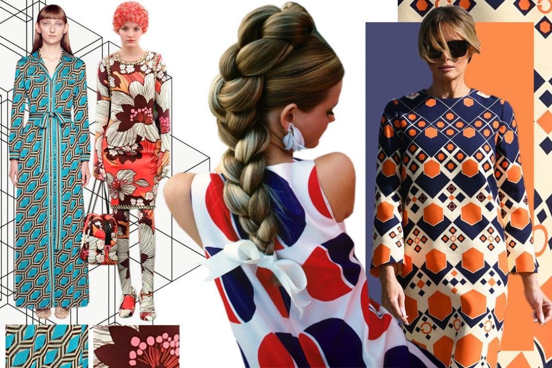 Da sinistra: modella con abito di Gucci, sfilata di Moncler Genius, la top model Cheryl Tiegs in uno scatto degli anni '60 e Melania Trump