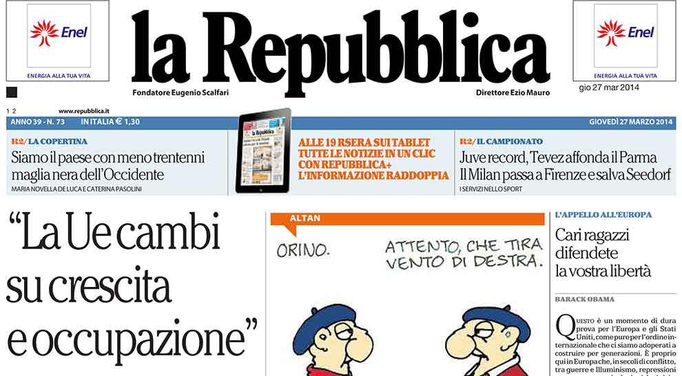 La repubblica 1976 2014 com 39 cambiato il nostro giornale for Repubblica homepage it