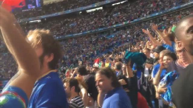 Italia-Spagna, il boato allo stadio al gol di Chiellini