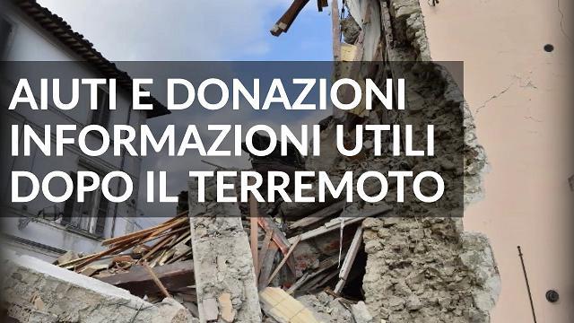 Terremoto, aiuti e donazioni dopo il sisma - Info utili