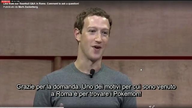 """Zuckerberg scherza con studenti Luiss: """"Sono a Roma per cercare i Pokemon"""""""