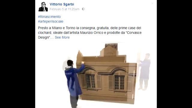 Vittorio sgarbi porta a milano le casette di cartone e dartista