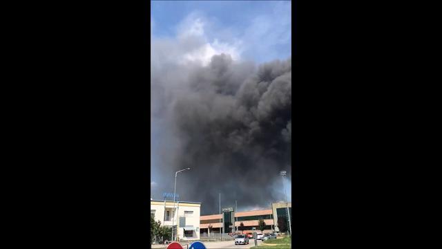 Incendio di rifiuti pericolosi a Vidor, l'altissima colonna di fumo
