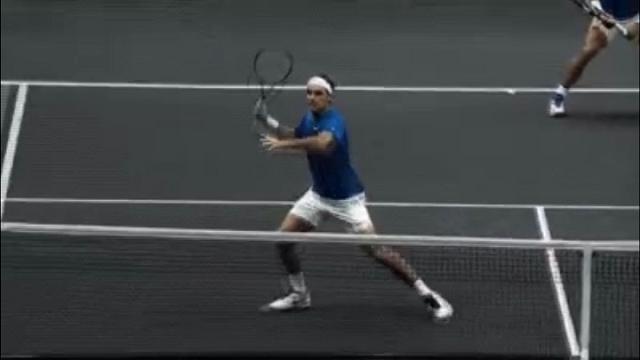 Federer, mai visto un liscio così: l'errore nel doppio con Nadal