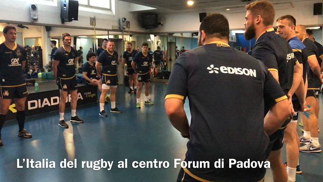 Padova, l'Italia del rugby in palestra in attesa del match con il Sudafrica