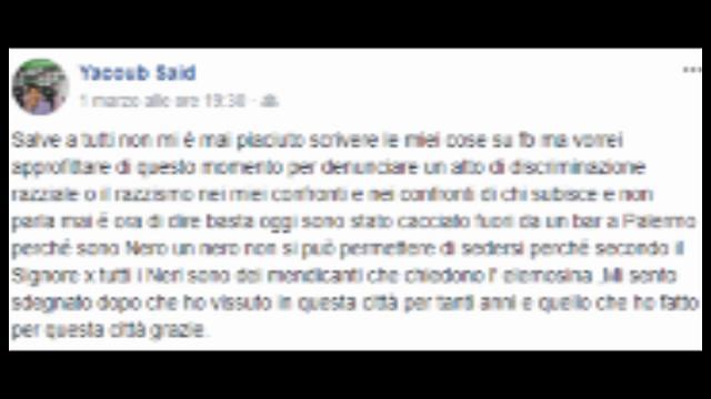 ''Sono stato cacciato da un bar di Palermo perché sono nero''