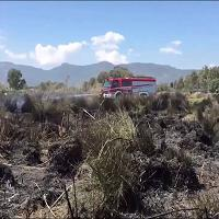 Assemini, incendio devasta le campagne intorno a Macchiareddu