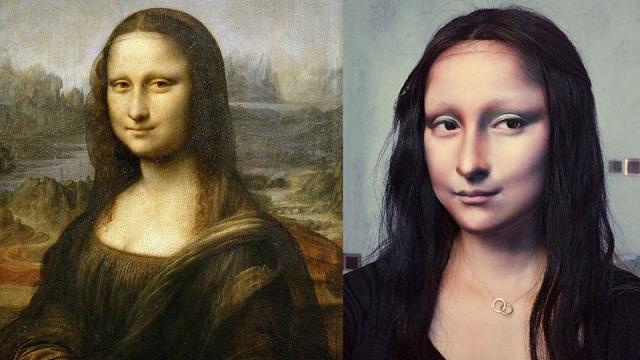 Make up artist come Leonardo da Vinci: trasforma il suo viso nella Gioconda