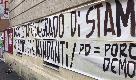 Roma, striscione e manichino impiccato davanti circolo Pd