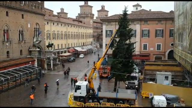 In piazza è già Natale, arriva l'albero