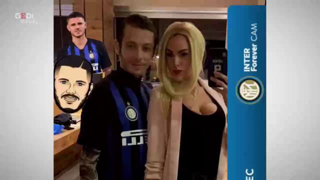 Valentino Rossi e fidanzata travestiti da Icardi e Wanda Nara