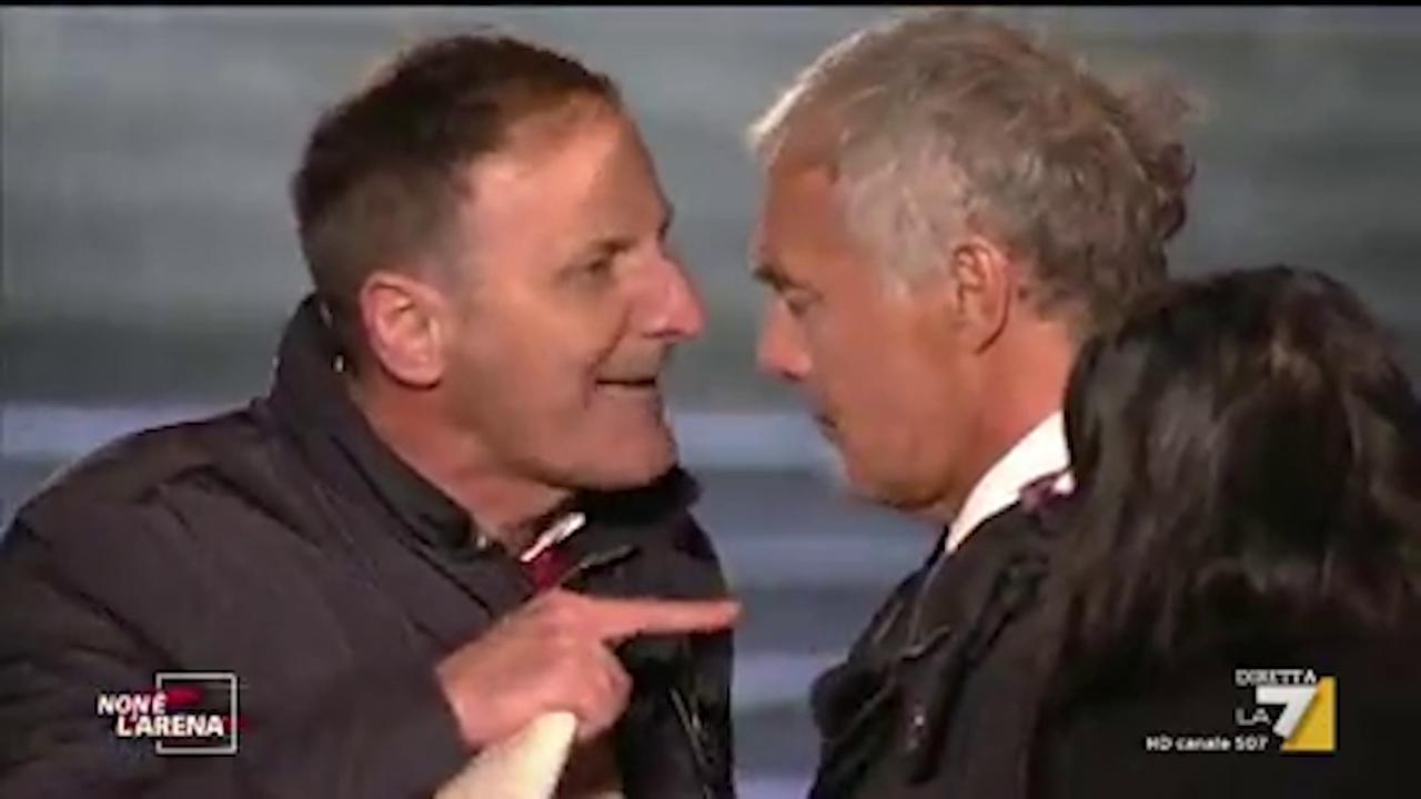 non è l`arena, scontro tra giletti e il sindaco di mezzojuso: rissa sfiorata in diretta