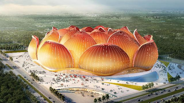 Cina, lo stadio di calcio più grande del mondo avrà la forma di un fiore di loto