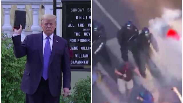 Trump mostra la Bibbia e fa sparare lacrimogeni sui manifestanti pacifici per andare in chiesa
