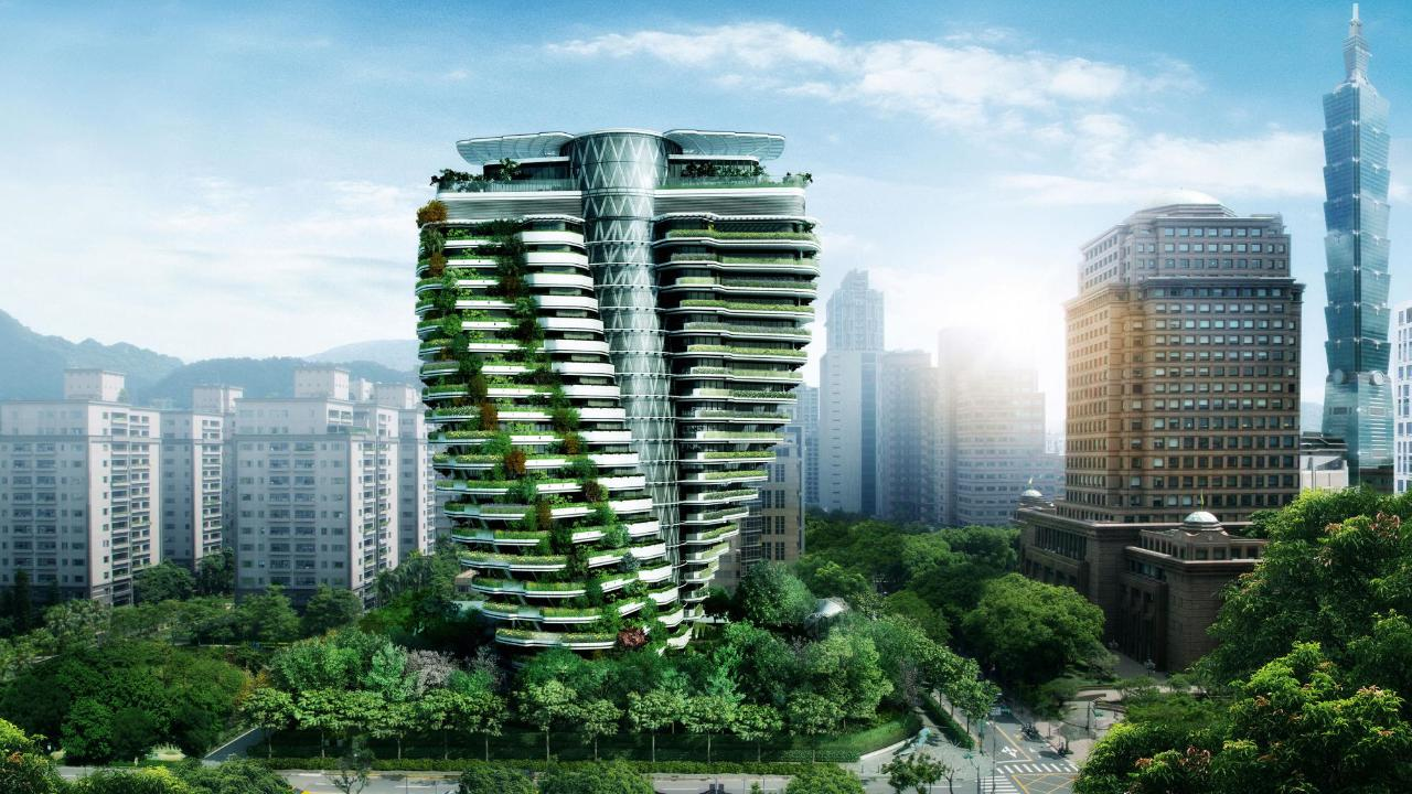 Taipei, lo speccacolare grattacielo-giardino che assorbe l'inquinamento e abbatte i consumi quasi a zero