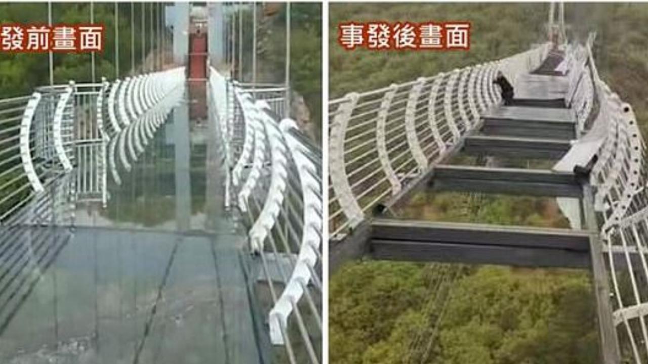 Cina, il ponte del terrore: il vento solleva le lastre di vetro, un turista resta appeso nel vuoto a 300 metri