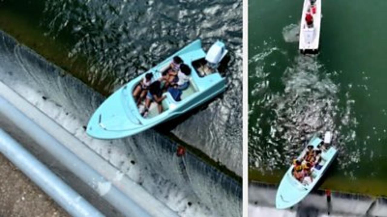 Ragazze finiscono con la barca in bilico su una diga, il salvataggio da un salto di 11 metri
