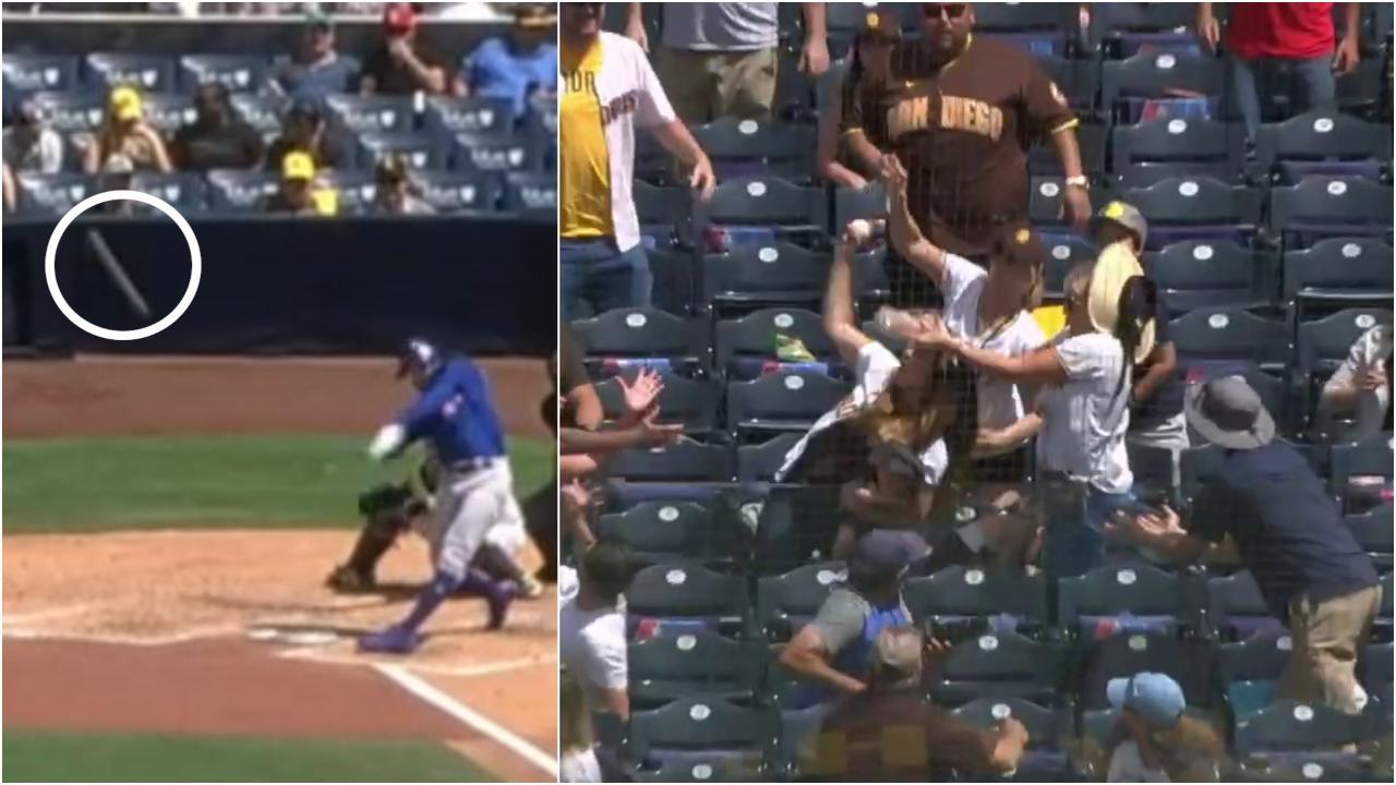 La palla da baseball schizza a velocità impressionante verso gli spalti: la prende al volo una madre con il neonato in braccio